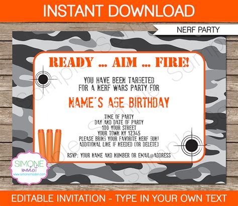 Nerf Party Invitations Nerf Invitations Birthday Party Nerf Gun Birthday Invitation Template