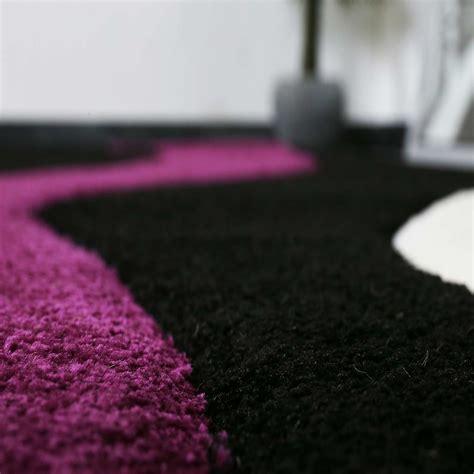 Modern Teppich Design Lila Schwarz Wei 223 Wellen Muster