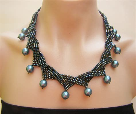 seed bead jewelry seed necklace pearl necklace handcrafted jewelry