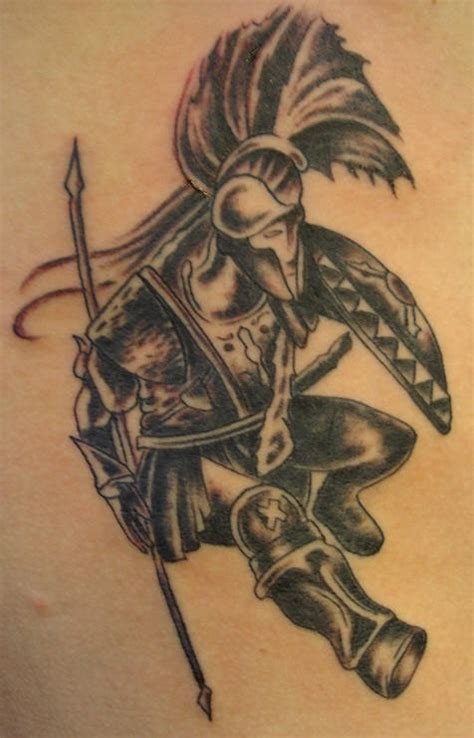 ancient warrior tattoo designs warrior in armor with bilateral spear