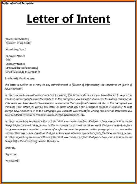 Letter Of Intent Template Rental Intent Letter Format Lease Template