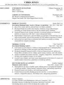 Bank Resume Exles by Sle Investment Banking Resume