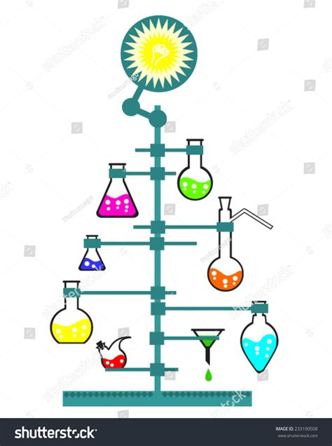 Happy Light Bulb Christmas New Year Tree Chemistry Science Stock Vector