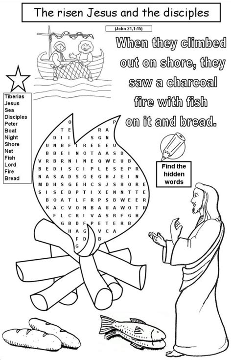 coloring page for jesus cooks breakfast the miracle of the great catch of fish peter is restored