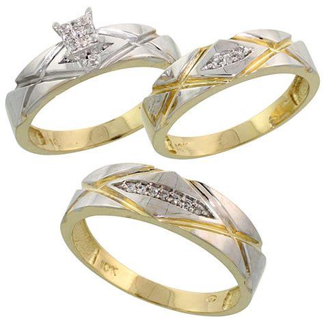 buy 10k yellow gold trio engagement wedding ring set for