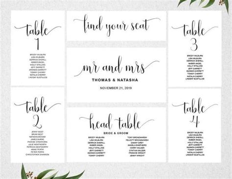 Wedding Seating Chart Template Instant Download Seating Table List Wedding Template