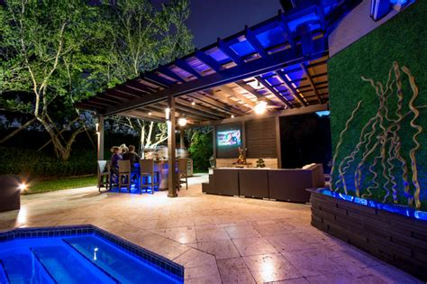 Frank Lloyd Wright Wall Sconces Outdoor Kitchen And Pergola Project In South Florida