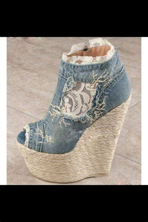 Wedges Flowers Ziper Blue 204 best denim shoes images on denim boots