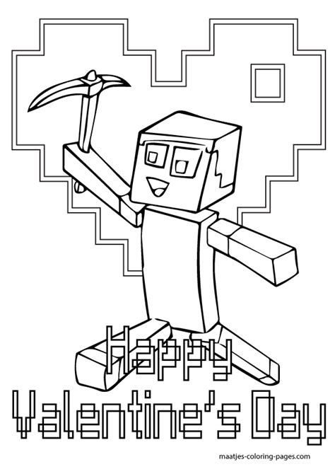 minecraft valentine coloring page valentine minecraft free coloring pages