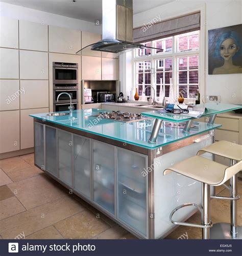 modern kitchen breakfast bar bar stools at breakfast bar in modern kitchen uk home