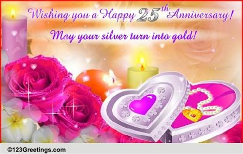 Silver Anniversary Wishes Free Milestones by A Silver Lining Free Milestones Ecards Greeting Cards