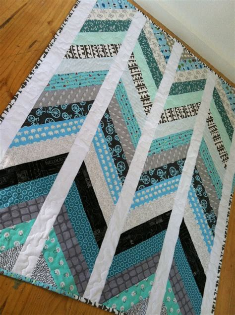 Grey Patchwork Quilt - chevron handmade modern cot crib patchwork quilt in blue