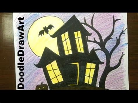 how to draw a haunted house drawing how to draw a haunted house step by step easy youtube