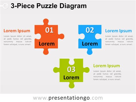 3 Piece Puzzle Diagram For Powerpoint Presentationgo Com Powerpoint Jigsaw Template 2
