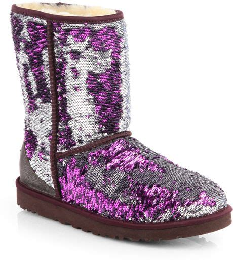 ugg sparkle boots ugg classic sparkle boots in purple lyst