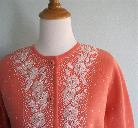 beaded cardigan sweaters vintage 50s beaded cardigan coral wool by badchollavintage
