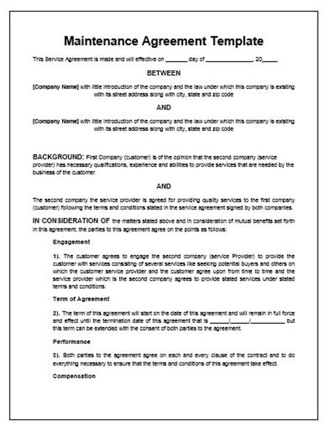 service contract template free maintenance agreement template microsoft word templates