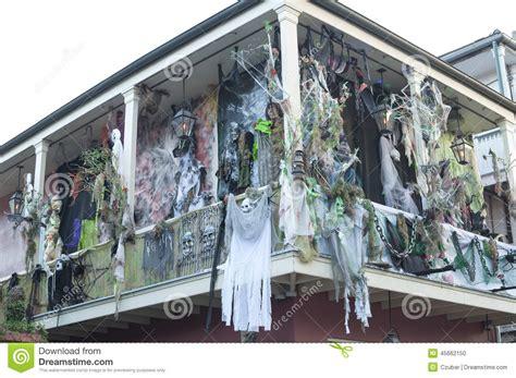 New Orleans House Plans Haunted Halloween Decorations On Bourbon Street Editorial