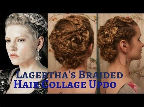collage youtube video hair tutorial easy half updos long wavy vikings lagertha s braided hair collage updo youtube