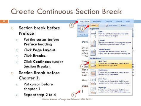 microsoft word continuous section break writing thesis using ms word 2007