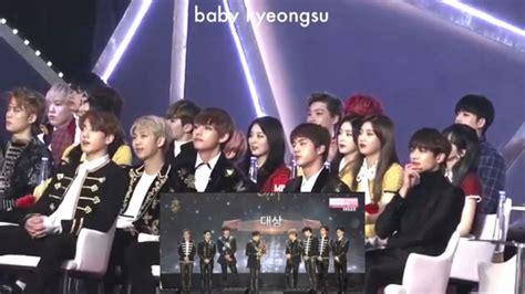 exo daesang 170114 bts minhoo red velvet reaction to exo winning