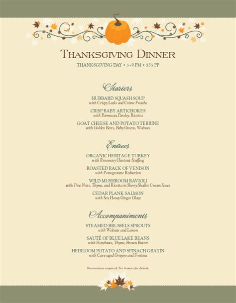 thanksgiving day menu template happy thanksgiving menu letter thanksgiving menus