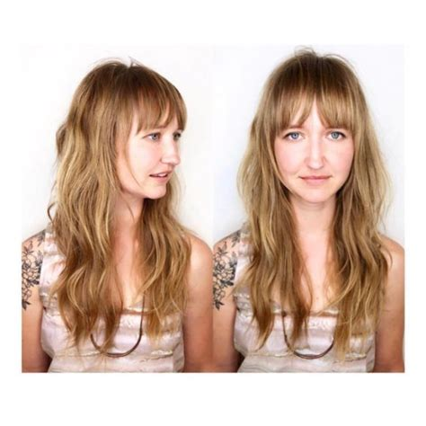 women s strawberry blonde shag with undone textured waves women s long messy wavy shag cut with bangs on black hair