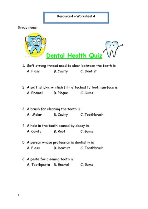 printable worksheets for personal hygiene personal hygiene worksheet 4 dental health quiz