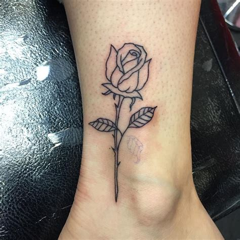 simple black rose tattoo simple outline done today powerhousetattoo tattoos