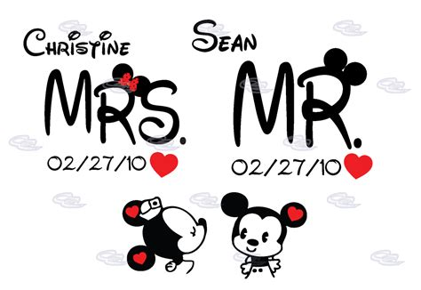 mrs mr little mickey minnie mouse cute kissing with names and wedding date married with mickey