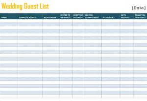 Wedding Planning Guest List Template Printable Wedding Guest List Template For Word And Excel 174