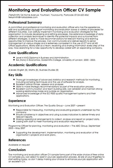 monitoring and evaluation officer cv sle myperfectcv