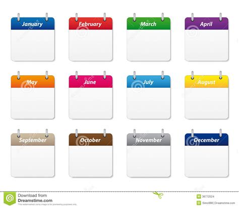 monthly colors calendar icons set stock vector illustration of green