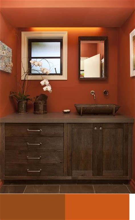 brown bathroom colors color schemes brown orange white in the bathroom