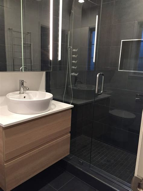 charcoal bathroom contemporary with slate tile wall