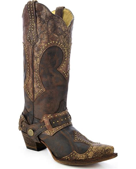 corral womans boots corral s studded harness boots snip toe