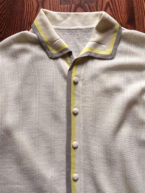 italian knit shirts italian knit polo shirt vtg 60s gray yellow size m