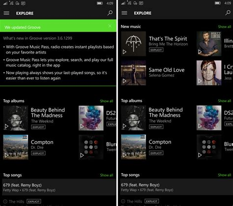 windows 10 mobile groove music updated with fluent design groove updated for mobile with radio and explore while