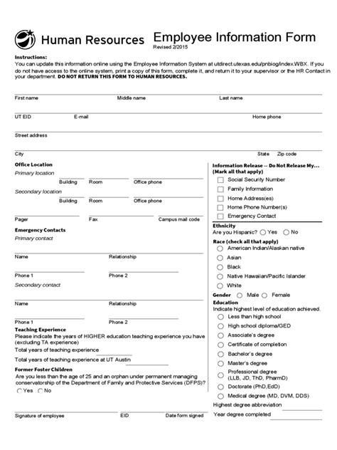 general employee information form   templates