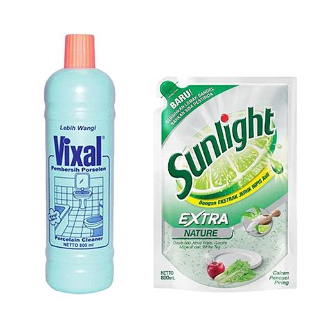 Pembersih Natur E jual sunlight nature refill cairan pencuci piring 800 ml dan vixal hijau lebih wangi