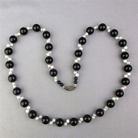 black onyx bead necklace vintage black onyx bead necklace w sideways freshwater