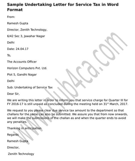 Service Tax Letter undertaking letter for service tax sle in word format ca club