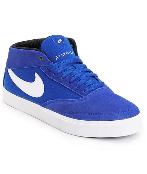 mid top skate shoes nike sb omar salazar lr drenched blue white mid top