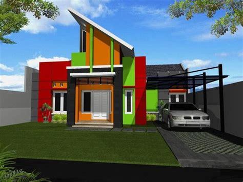 perpaduan warna cat rumah hijau  orange