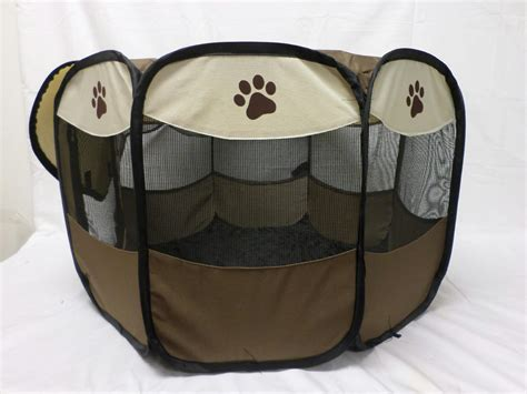 portable puppy playpen pet store portable pet puppy cat playpen folding design easy storage beige ebay