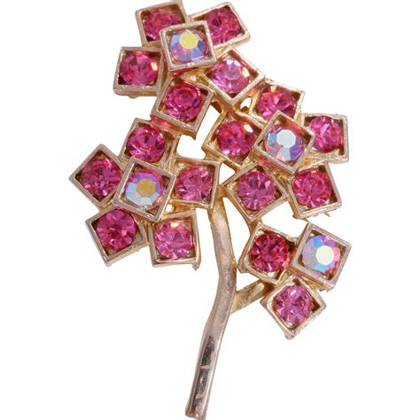 weiss tree pin weiss signed flowering pink tree pin brooch from