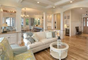 The open floor plan of this classic coastal home welcomes friends