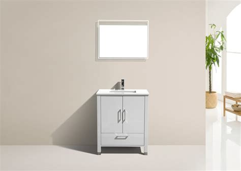 Country White 30 Inch High 30 Inch High Gloss White Contemporary Bathroom Vanity With White Quartz Top