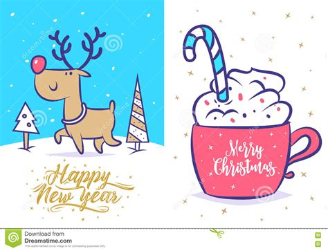 funny  year set christmas greeting card background poster vector illustration stock