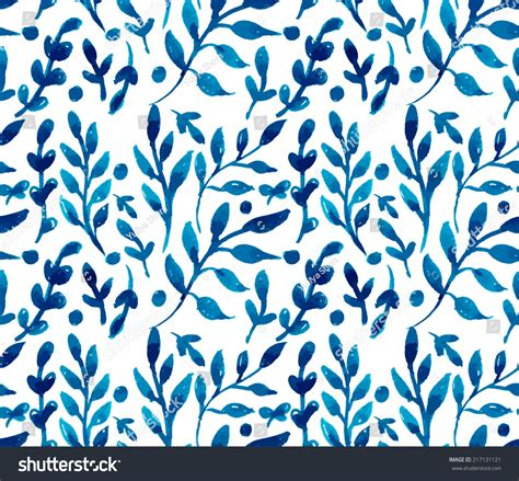 pattern vector no background hand painted watercolor ink leaves seamless floral pattern